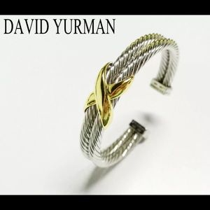 Yurman 10mm Crossover Double Cable Rope Cuff 14K
